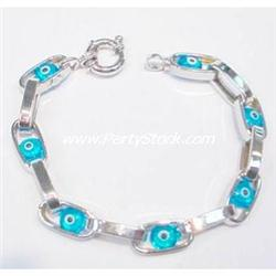 BLUE 14K WHITE GOLD KABALLAH EVIL EYE BRACELET JE