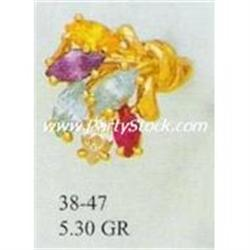 14K SOLID GOLD & LAB CREATED GEMS CZ RING 5.3g