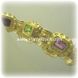 14K GOLD MULTI GENUNINE GEMS BRACELET