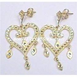14K SOLID GOLD EARRINGS HEARTS DANGLE 1.7 INCHES!
