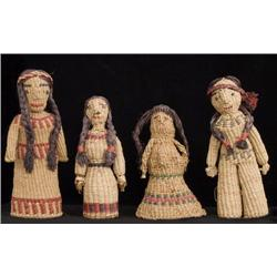 Set of Four Papago Basketry Dolls.