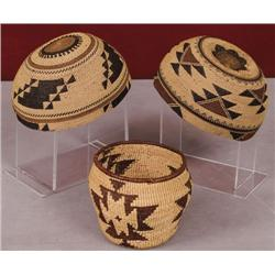 Two Basketry Hats and One Basket.