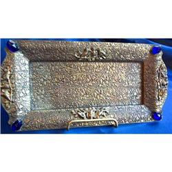 Cobalt Blue Glass JEWELED Vanity Tray  #859656