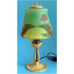 Aladdin Reverse Painted Satin Glass Table Lamp  #859657