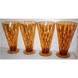 Central Depression Glass Amber Footed Tumblers #859683