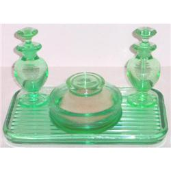 New Martinsville Green Art Deco 8 Pc Vanity Set #859703