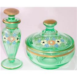 Green Depression Glass Decorated Vanity Set #859704