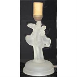 'Dancing Couple' Frosted Crystal Art Deco Lamp #859719