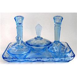Ice Blue Depression Glass OLLIE MAY Vanity Set #859720