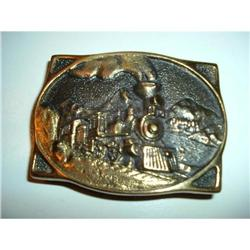 Railroad Steam Engine Belt Buckle, Solid Brass  #859908