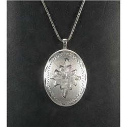 White Gold Locket with Chain #859912