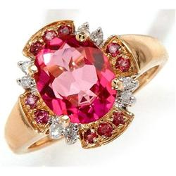 Pink Topaz, Rhodolite and Diamond Ring #859918