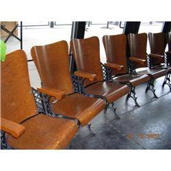 ANTIQUE THEATER CHAIRS--SET OF 11--TIGER OAK #867110