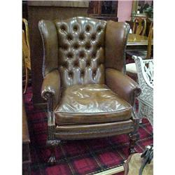PAIR OF LEATHER WING CHAIRS #867186