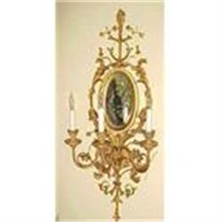Pair of Giltwood Mirrored Sconces  #867206