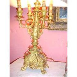 Pair of French Antique Bronze Lamps #867210
