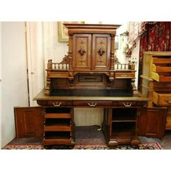 Exceptional Highly Carved Antique Oak Desk with #867219