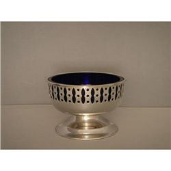 Bowl  Silver  Plated  with  Blue  Glass  Lining #862907