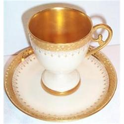 Hand Painted Limoges Footed Demi Cup Saucer #863391