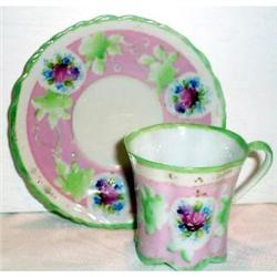 Hand Painted Nippon Pink and Green Cup Saucer #863396
