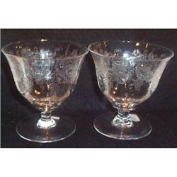 Two Fostoria Grape Etched Footed Goblets #863397