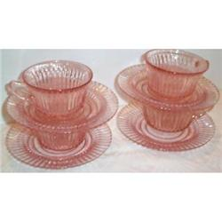 Four Pink Queen Mary Depression Cups Saucers #863415