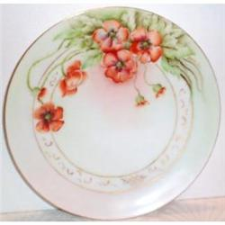 Hand Painted Poppy Decorated Bavarian Plate #863422