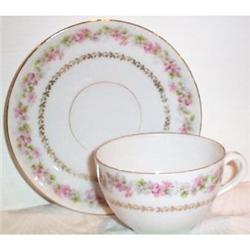 Austrian Pink Rose Decorated Cup and Saucer #863427