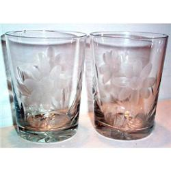 Two Fostoria Clear Wheel Cut Floral Decorated #863579