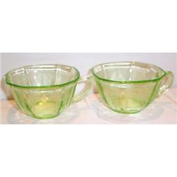 Two Green Princess Depression Glass Cups #863583