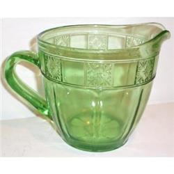 Green Doric  32 ounce Depression Glass Pitcher #863600