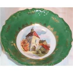 Bavarian Castle Decorated Green Bowl #863616