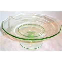 Wheel Cut Green Depression Footed Compote #863617