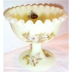 Fenton Hand Painted Custard Scalloped Compote #863637