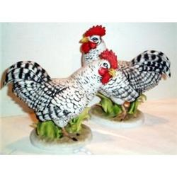 Pair of Plymouth Rock  Chickens, Rooster and #863642