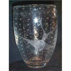 Crystal Art Glass Koi and Bubble Vase #863658