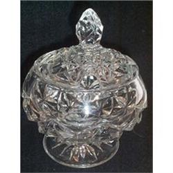 Crystal Pressed Glass Footed  Covered Jam Jar #863659