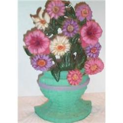 Hand Painted Cast Iron Floral Door Stop #863686