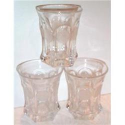 Three Fostoria Clear Crystal Coin Tumblers #863689