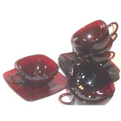 Six Royal Ruby Charm Cups and Saucers #863707