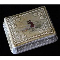 Irish Porcelain Lidded Box, Hunting Motif #863734