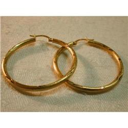 14K YG Tube Diamond Cut Hoop Earrings Hoops #863737