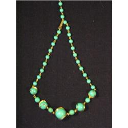 Turquoise and Silver Lucite Necklace #863759