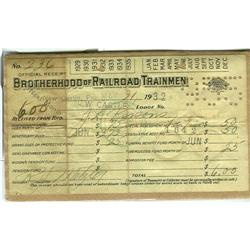 Brotherhood of Railroad Trainmen Receipt #863906