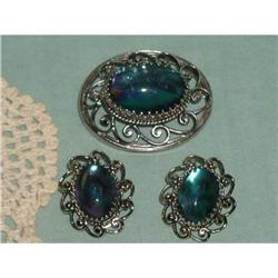 WHITING DAVIS  BROOCH & EARRING SET SIGNED #863945