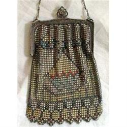 Whiting and Davis Mesh Enameled Victorian Purse #878538