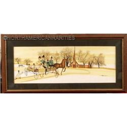 """Vintage  Watercolor """"Amish, Going to Church"""" #896425"""