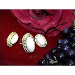 A LOVELY SET - PINKISH CORAL RING & EARRINGS0 #896431