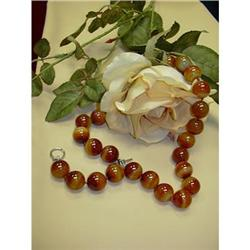 AGATE BEAD NECKLACE WITH WHITE GOLD CLASP #896455