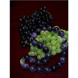 STUNNING AMETHYST BEAD NECKLACE W/SILVER CLASP #896456